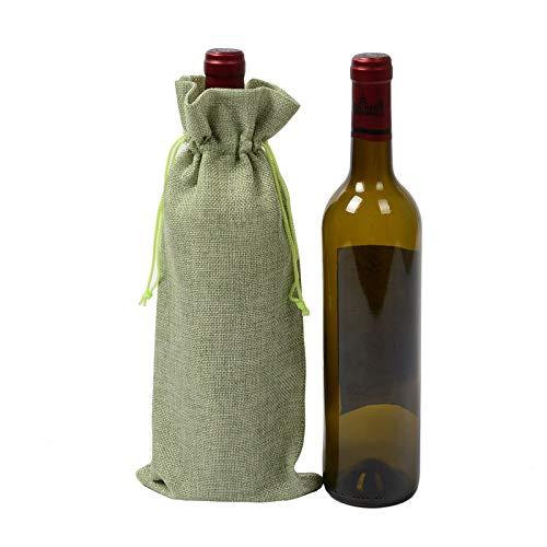 KKONION Jute Red Wine Bottle Covers Gift Candy Bag Pouch Burlap Package Wedding Party Chrismas - Pouch Faux Elephant Fur