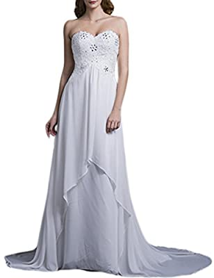 LovingDress Women's Wedding Dress Empire Waist Sweetheart Chiffon with Beading
