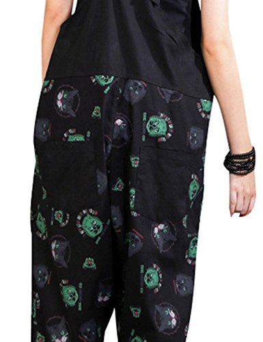 Zoulee Women Strap Rompers Jumpsuits Denim Casual Bib Pants Floral Wide Leg Cropped Pants Overalls Style 4 Black by Zoulee (Image #6)