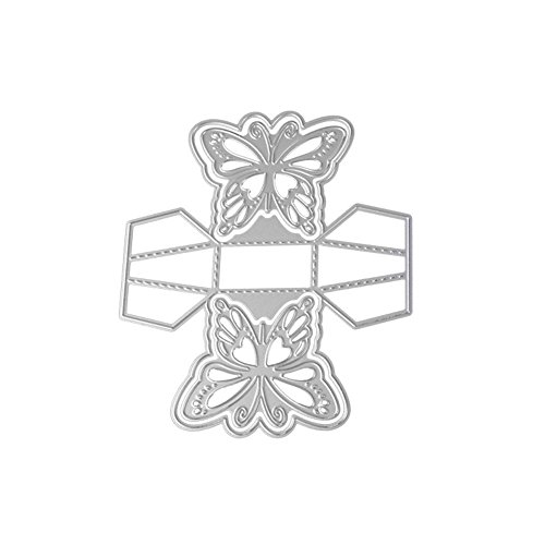 (opOpb213IL Cutting Dies Stencil DIY Scrapbooking Embossing,Exquisite 3D Butterfly Candy Gift Box Cutting Die Embossing DIY Stencil Decor - Silver)