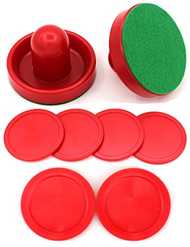 Qtimal Home Standard Air Hockey Paddles and 2 Size Pucks, Small Size for Kids, Large Size for Adult, Great Goal Handles Pushers Replacement Accessories for Game Tables (2 Striker, 6 Puck Pack) (Mini Hockey Pucks)