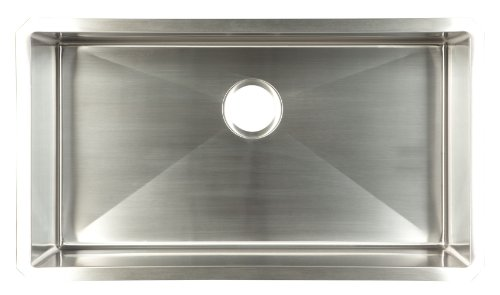 Kindred UDTS30/10 Hand Fabricated Single Bowl Under Mount Kitchen Sink, Stainless Steel