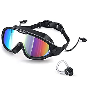 Well-Being-Matters 41HIkzlkLzL._SS300_ 2021 Swim Goggles with Ear Plugs, 100% UV Protection No Leaking Anti Fog Swimming Glasses for Women Men and Youth…