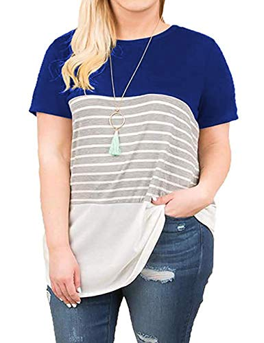 Kancystore Plus Size Womens Tunics Casual Color Block Short Sleeve Striped Blouses 5XL Royal Blue