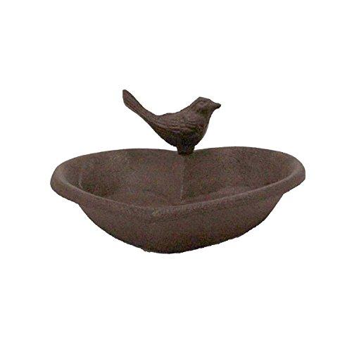 Vogeltränke Vogelbad Gusseisen patiniert Vogelbecken Futterschale Herz Form mit kleinem Vogel