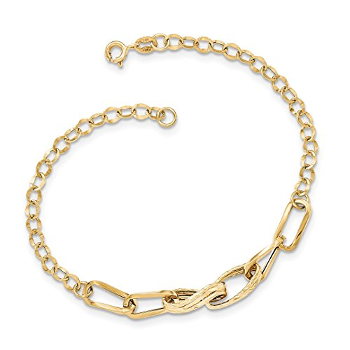 ICE CARATS 14k Yellow Gold Textured Link Bracelet 7.75 Inch Fine Jewelry Ideal Gifts For Women Gift Set From Heart