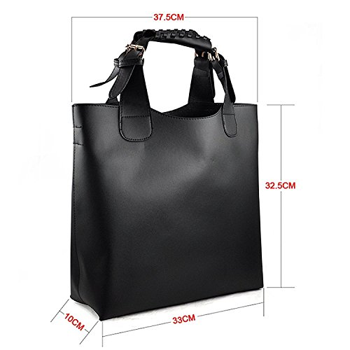 TOOGOO(R) - Bolso de tela para mujer marrón marrón negro - negro