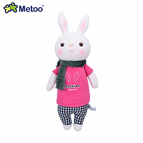 Metoo Tiramisu Rabbit Plush Toy Doll Stuffed Bunny Lovely Gift for Children Rose T-Shirts 746D