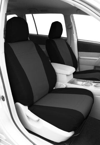 CalTrend Front Row Bucket Custom Fit Seat Cover for Select Toyota Highlander Models - DuraPlus (Charcoal Insert with Black Trim)