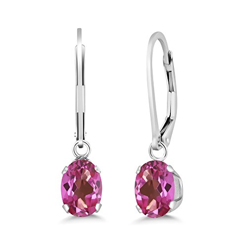 Gem Stone King 1.90 Ct Oval Pink Mystic Topaz 925 Sterling Silver Women s Earrings