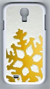 Golden Snowflake PC Hard Case Cover For Samsung Galaxy S4 SIV I9500 Case and Cover White