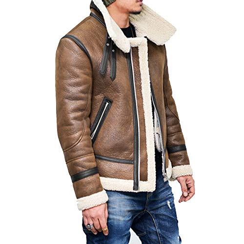 - Mens Pea Coat Slim Fit.Men Autumn Winter Highneck Warm Fur Liner Lapel Leather Zipper Outwear Top Coat