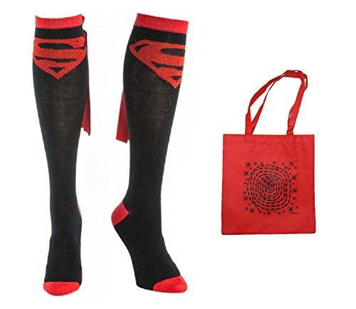 Superman Womens' Suit Up Cape Knee High Socks & Tote - 2 Piece Gift Set