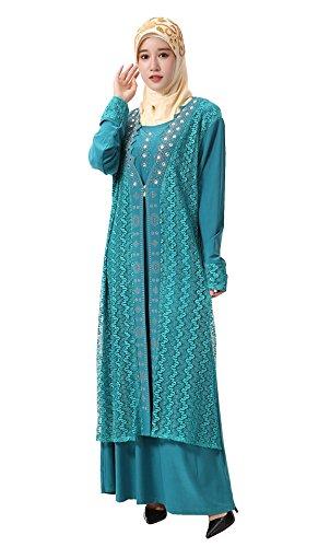 Vestito Maxi Ricamo Maniche Verde Pizzo Vestito Elegante Con GLADTHINK Islamico Donne Musulmano Lunghe IYSqwg68