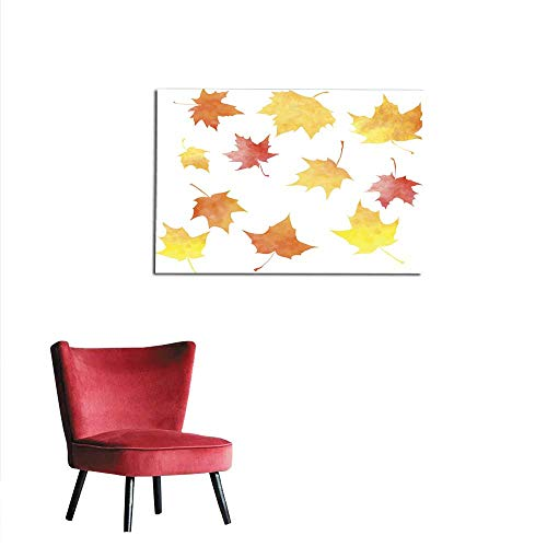 Maple Decal Set - homehot Art Decor Decals Stickers Set of Silhouettes by Maple Leaves in Watercolor Mural 24