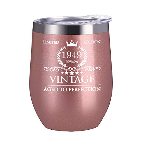 1949 70th Birthday Gifts for Women Men-12 oz Stainless Steel Wine Glass Tumbler with Lid Party Decorations Supplies-Funny 70th Birthday Gift Ideas for Him Her Husband Wife Mom Dad -