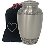 Momentful Life Embossed Pewter Cremation Urn - Adult Metal Silver Cremation Urn