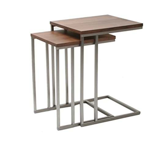 Moe's Home Collection Nesting Tabella Tables, Walnut Veneer, Set of 2