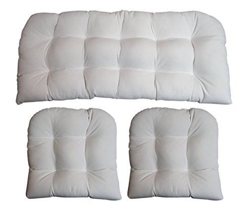 (3 Piece Wicker Cushion Set - Indoor / Outdoor Wicker Loveseat Settee & 2 Matching Chair Cushions - Sunbrella Canvas White)