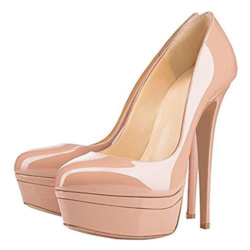 Onlymaker Damen Open Toe Plateau Stiletto High Heel Pumps Schluepfen Party Hochzeit Schuhe Nackt