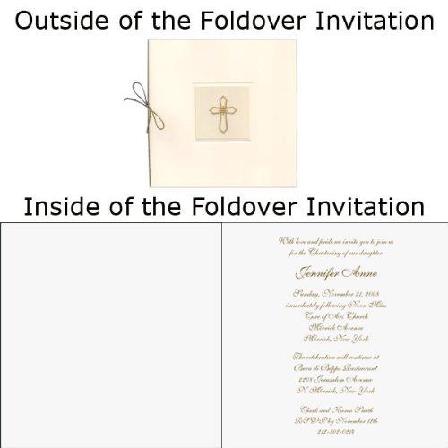 (Gold Cross With Vellum Baptism Christening Invitations - Set of 20)
