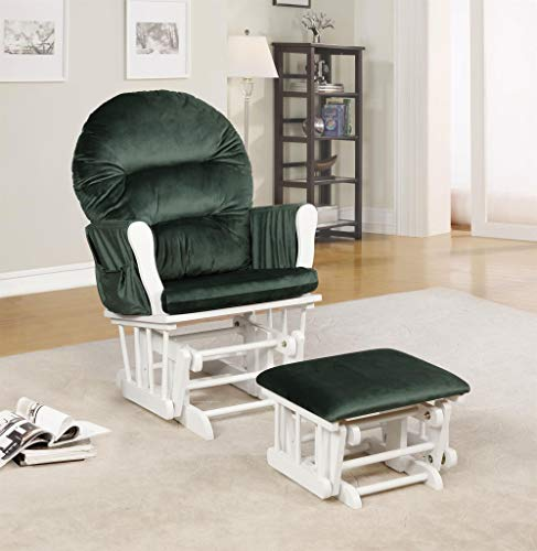 Naomi Home Brisbane Glider & Ottoman Set White/Sage Green