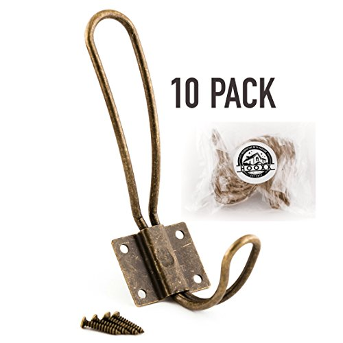 College Mirror Wall (Rustic Coat Hooks Wall Mounted - 10 Pack of Vintage Double Coat Hangers with Large Metal Screws Included - Hard Antique Industrial Heavy Duty Hook Set - Best for Farmhouse Shabby Chic Hanging Look)