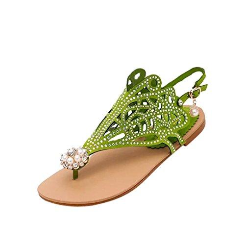 mujeres Vitage playa Roma Rhinestone talón plano de verdes antideslizante sandalias HUHU833 5qa4w5