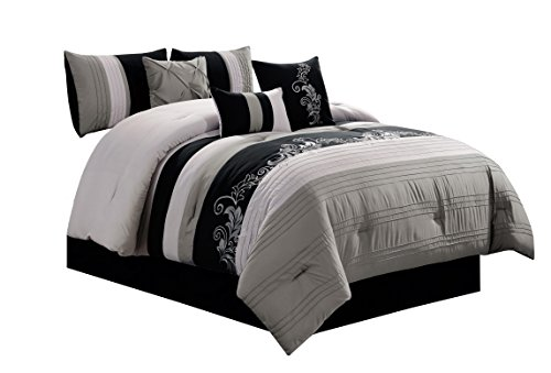Chezmoi Collection Napa 7-Piece Luxury Leaves Scroll Embroidery Bedding Comforter Set (Full, Light Gray/Black)