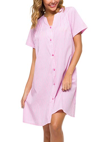 (YOZLY House Dress Womens Stripe Sleepwear Short Sleeve Loungewear Button Down House Duster Gowns (Pink, M))