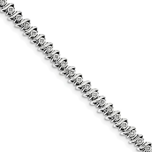 ICE CARATS 925 Sterling Silver Diamond Bracelet 7 Inch Fine Jewelry Gift Set For Women Heart by ICE CARATS
