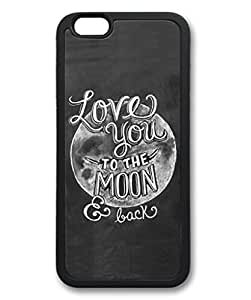 iPhone 6 Plus Case, iCustomonline Love You To The Moon And Back Designs Protective Soft TPU Case Cover for iPhone 6 Plus (5.5 inch) Black