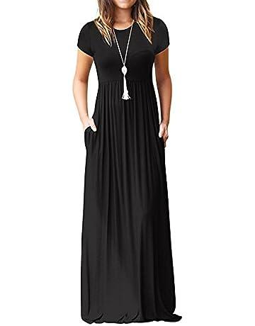 6cd18c789 Euovmy Women's Short Sleeve Loose Plain Maxi Dresses Casual Long Dresses  with Pockets