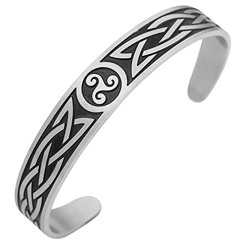 - ENXICO Adjustable Triskele Spiral Bangle Bracelet with Celtic Knot Pattern♦ 316L Stainless Steel ♦ Irish Celtic Jewelry