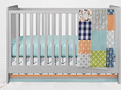 Crib Bedding Set - Bright Woodland - 4 Piece Crib Bedding Set Navy Blue, Orange, Gray, Aqua by Twig + Bird - Handmade in America