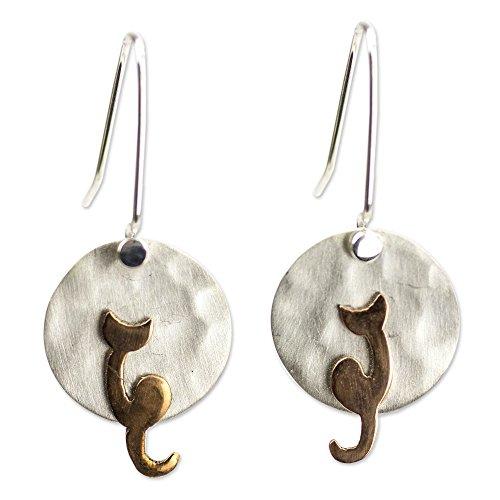 - NOVICA .925 Sterling Silver Earrings, Cat in the Moonlight'