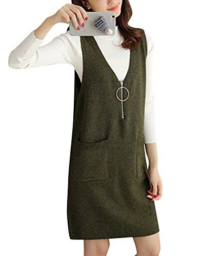Doppia Senza Maniche Tops Canotte Neck Gilet Tasca Verde Pullover V Asimmetrico Maglia Donna FgvxnUWqaU