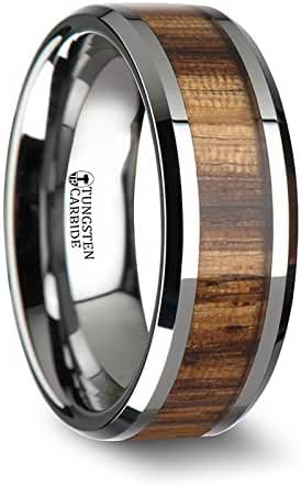 PALMALETTO Tungsten Carbide Ring with Beveled Edges and Real Zebra Wood Inlay - 8 mm