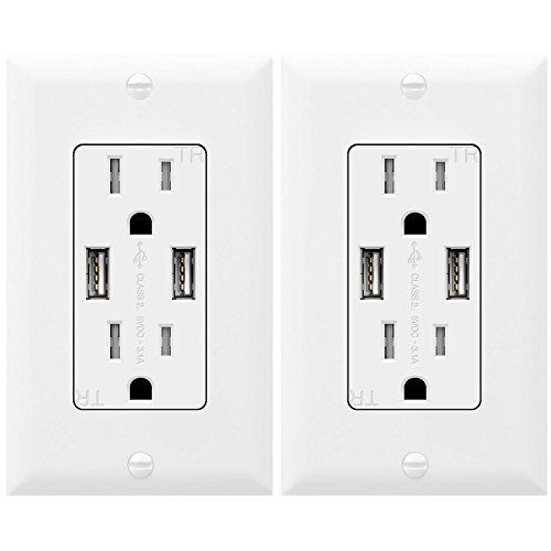 utlet with USB, 3.1A USB Outlet, USB Wall Outlet, USB Charger Outlet, Dual USB Charger with 15A Tamper Resistant Duplex Receptacle, 2-Pack, White (Dual Gang White Decorator)