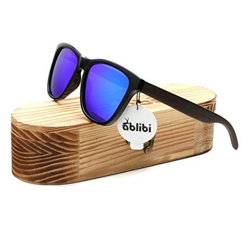 Ablibi Womens Bamboo Wooden Blue Sunglasses Polarized Driving Eyewear in Wood Box
