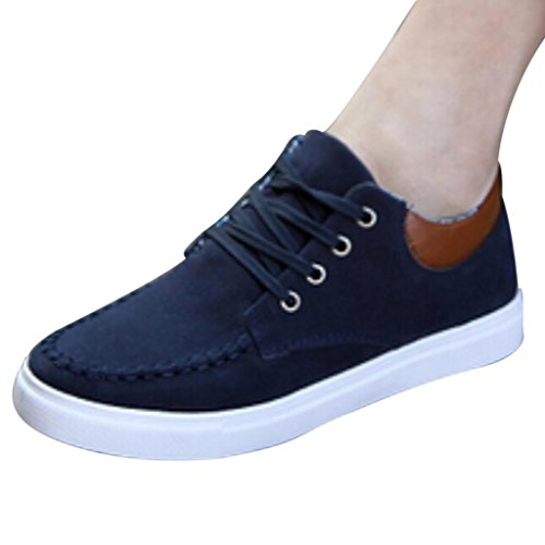 Hee Grand Mens Casual All Match Lace up Low Top Flatform Shoes US 6.5 Dark Blue