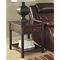 Ashley Furniture Signature Design Hindell Park Rectangular End Table, Dark Brown