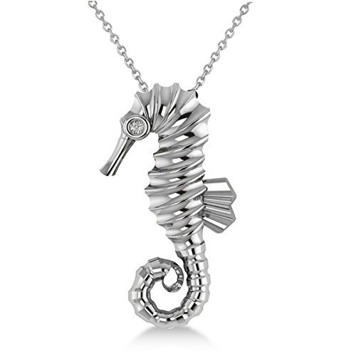 Diamond Summertime Seahorse Pendant Necklace 14k White Gold (0.01ct) by Allurez