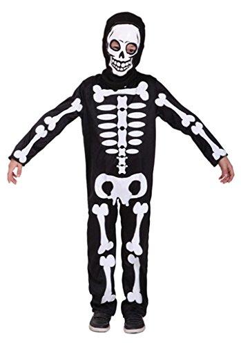 La Vogue Kids Skeleton Costume Skull Jumpsuit with Hood Mask Black-white 7-9Y