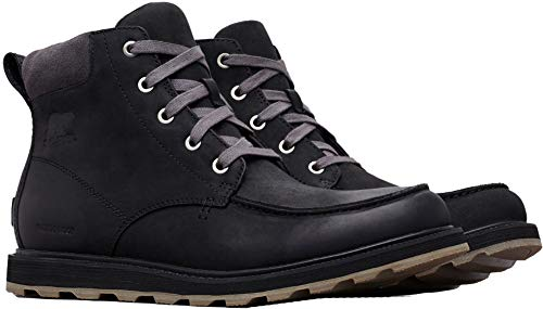 SOREL Mens Madson Moc Toe FG WP Rain Boot, Black/Dark Grey,