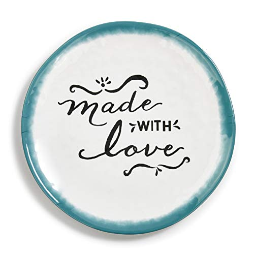 Made With Love Round Blue On White 13 x 13 Durable Melamine Platter Plate