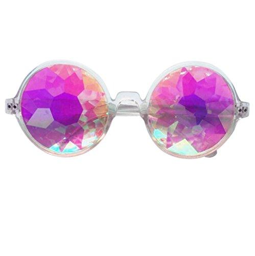 Fheaven Kaleidoscope Round Crystal Lens Dance Rave Festival Party EDM Sunglasses Glasses Toys - Designer $5 Sunglasses