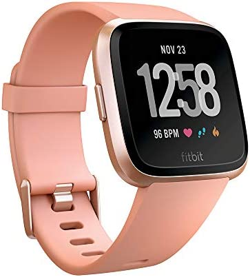 Fitbit Versa Smart Watch, Peach Rose Gold Aluminium, One Size S L Bands Included