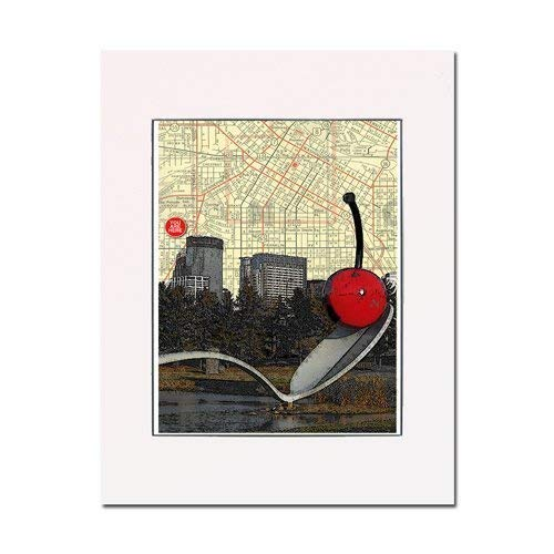 - Spoonbridge with Cherry, Walker Art Center, Minneapolis, Minnesota, art print. Gallery quality. Matted at 11 inches by 14 inches and ready-to-frame.
