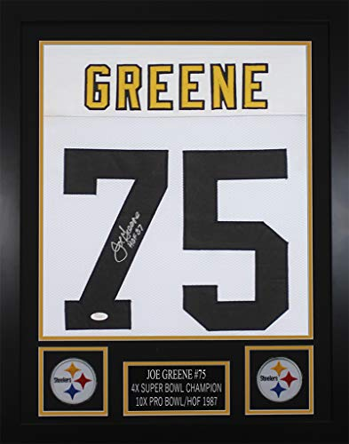 Joe Greene Autographed White Steelers Jersey - Beautifully Matted and Framed - Hand Signed By Joe Greene and Certified Authentic by JSA - Includes Certificate of - Hand Signed Jersey Steelers
